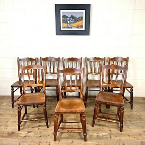Set of Eight Late 19th Century Antique Kitchen Chairs (M-3031) - FREE DELIVERY*