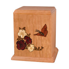 Wood Cremation Urn (Wooden Urns) - Cherry Butterfly