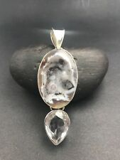 White Topaz Pendant Free Shipping ! Sterling Silver Agate Druzy Geode &