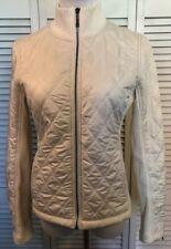 PrAna Jacket Diamond Quilted Full Zip Sherpa Lined Ribbed Knit Womens Medium