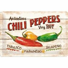 Chilli Peppers, Habanero Jalapeno Tabasco Retro, Medium 3D Metal Embossed Sign