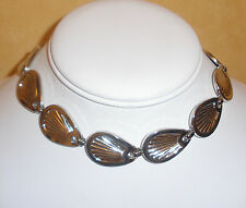 1960's Silver Tone Shell Link Necklace by Bergere Jewelry