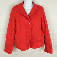 TALBOTS womens size 14P stretch solid red collared button front denim jacket EUC