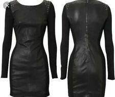 Karen Millen Black Leather Jersey Studded Body Con Dress UK8 EU36 US4 Halloween