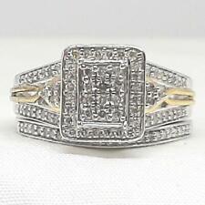 1.02ctw H-SI Diamond 14K Yellow Gold / 925 Silver Engagement / Wedding Set Ring