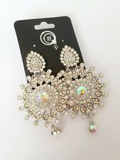 Diamante Chandelier Crystal Silver CLIP ON Dangle Gypsy Bridal Earrings AB003