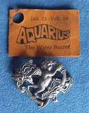 Vintage Signed STERLING BY CINI Mid Century AQUARIUS Zodiac Silver Brooch Pin