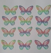 25 Edible RAINBOW BUTTERFLIES Wafer Paper CUPCAKE/CAKE Topper Lace Butterfly