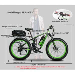 Cyrusher Electric Bicycle Double Suspension Fat Tire ebike for Men Snow/Mountain