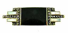 European Sterling Silver, Onyx, Mother of Pearl & Marcasite Pin Circa 1920s!