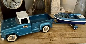 Tonka Toys Teal PICK-UP TRUCK W/BOAT & TRAILER SET