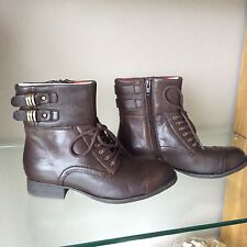BNIB Clarks Mimic Play Brown Leather Lace Up + Zip Casual Ankle Boots 3 E  Wide