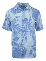 Cubavera Men's Short Sleeve Printed Woven Sport Shirt   Bright White