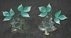 Lot of Two Heavy Glass Trimmed in Gold Tone Candle / Incense Holder USA