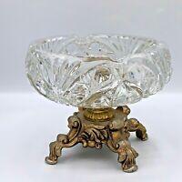 VTG Hollywood Regency Glass Pedestal Brass Ashtray Trinket Dish Flower in Center