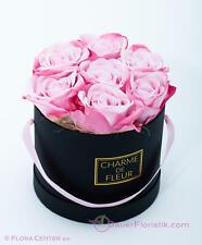 Charme de Fleur Rosen Box schwarz mit rosa Rosen Real Touch künstlich Tischdeko