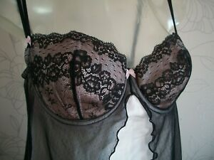 2 x Vtg Slips Bust 34 D  Pink & Black