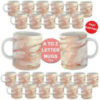 Personalised Marble Pattern Alphabet Monogram Custom Name Coffee Mug Cup Gift
