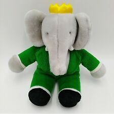 "Applause Babar Elephant Wearing Green Suit Plush 8"" Tall Crown Red Bow Tie"