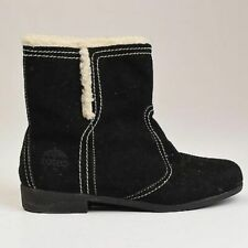 6.5 Vintage 1980s 80s Totes Winter Ankle Boots Faux Shearling Lined Black Suede