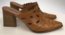 """Pelle Moda Women's 8  Brown Leather Mules 3"""" Heels Slip On Boho Slide Cut Outs"""