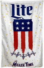"Miller Time Lite Beer American Flag Jets Can 3' x 5"" Banner Sign Usa Patriotic"