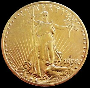 1908 D NO MOTTO GOLD USA $20 SAINT GAUDENS DOUBLE EAGLE COIN AU