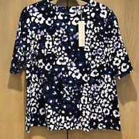 BNWT Fenn Wright Manson Studio Size 18 Blue Lilac Blouse Top Short Sleeve Floral