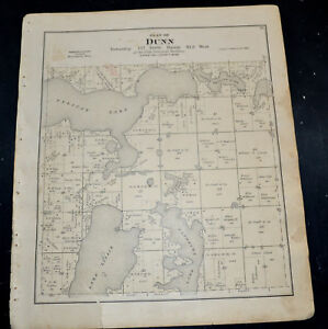1884 OTTER TAIL COUNTY MAP MINNESOTA Dunn and Aastad Townships