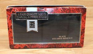 4 Pair of Quality Black Men's Casual & Dress Socks Fits Shoe Sizes 9-12