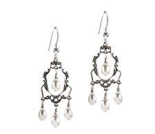 *CKstella*  White Pearl Chandelier Fresh Water  .925 Sterling Silver Earrings