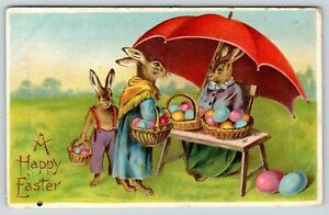 Easter Fantasy~Lady Rabbit Roadside Colored Egg Stand~Mom Buys For Bunny~BW 354