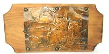 Vintage Hammered Copper on Wood Plaque Wall Art Two Kittens Playing W/ Yarn Ball