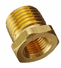 "Brass Bushing Coupler Fitting Pipe NPT 1/4"" Male to 1/8"" Female Gauge Adapter 6E"