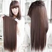 Chocolate Brown long clip on off fake Hair Extension 24 inch 120gm Accessoriess