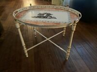 Vtg Antique Italian TOLE Tray Metal Folding Side Table Neoclassical Shabby Chic