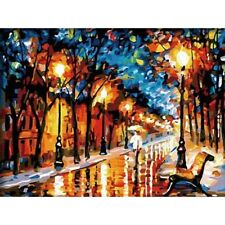 DIY Paint By Number Kit Digital Oil Painting Canvas Street Lights Home Decor