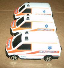 Three 1/64 Scale Ambulance Van Diecast Model Emergency Rescue Fleet Vehicle Lot