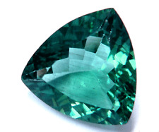 CERTIFIED 4.93ct TOP COLOR AAA Natural African Trillion Cut Blue Green Apatite !