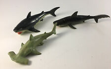 """Vintage Great White / Tiger / Hammerhead Shark Lot Play Visions 7"""" Figure Toy"""
