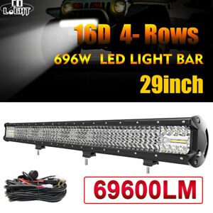 "12/15/20/29/44"" 4-Row Led Offroad Light Bar Spot Flood Combo Beam Led Work Light"