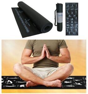 Non Slip Soft Yoga Mat Exercise Fitness Gym Yoga Foam Mat Black 28 Positions