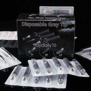 50Pcs Gray Plastic Sterile Disposable Tattoo Nozzle Needle Tube Tips RT FT DT