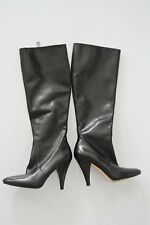 Black Leather VIA SPIGA Tall Dress Boots w/ Pointed Toe, 3.5 in Heels, Size 4M