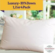 Deluxe 30% Duck Down 70% Duck Feather Pillow | Machine Washable | Cotton Cover