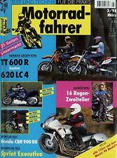 Motorradfahrer 3/98 1998 CBR 900 RR GPZ 1100 KTM LC4 620 E TT600R Vee Two Squalo