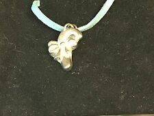 """Candy Cane TG198 English Pewter On 18"""" Blue Cord Necklace"""