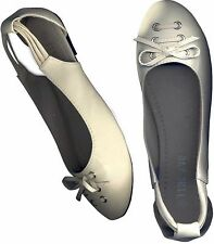 ♥ NWOB KHAKI WHITE♥ BALLET FLAT SHOES WITH SLING STRAP_ S39 /38