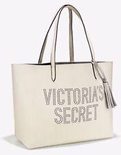Victoria's Secret Double Strap Tote Bag Laser Cut Perforated VS logo White