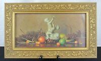 Robert Douglas Hunter Still Life Cherubs Vintage Lithograph Art Print Gold Frame
